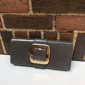 MWT Michael Kors Sutton Light Gray Leather Clutch